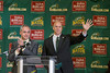 George Mason University President Ángel Cabrera introduces Brad Edwards as the new Mason Athletic Director during a press conference at the Mason Inn. Photo by Craig Bisacre/Creative Services/George Mason University