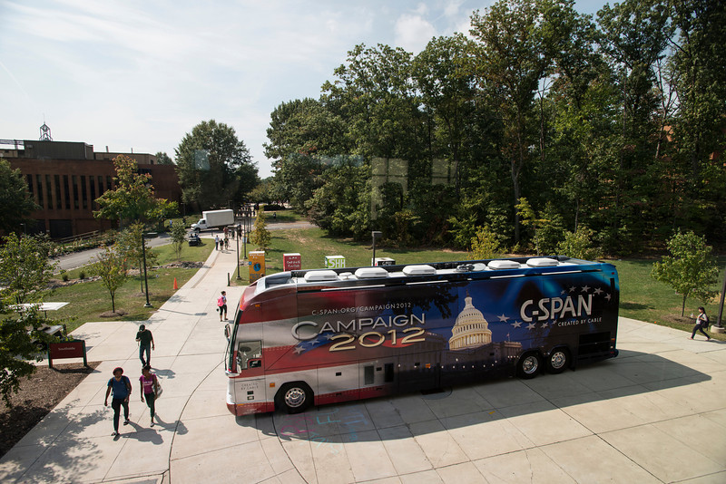 The C-SPAN Civic Bus parks at Southside Plaza at Fairfax campus. The bus is a space for students, faculty and citizens to discuss media, public affairs and C-SPAN programming. Photo by Alexis Glenn/Creative Services/George Mason University