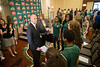 Brad Edwards shakes hands with members of the women's basketball team after being formally introduced as the new Mason Athletic Director during a press conference at the Mason Inn. Photo by Craig Bisacre/Creative Services/George Mason University
