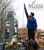 George Mason sororities and fraternities construct shacks to help raise funds for Habitat for Humanity and Medical Care for Children partnership for Fairfax County. Shack-a-Thon is a annual competition during Greek Week where greek life compete to build the best shack and raise money for charity.​  Photo by Craig Bisacre/Creative Services/George Mason University