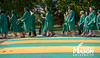 Alan Merten walks with graduates at Commencement 2012. Photo by Alexis Glenn/Creative Services/George Mason University