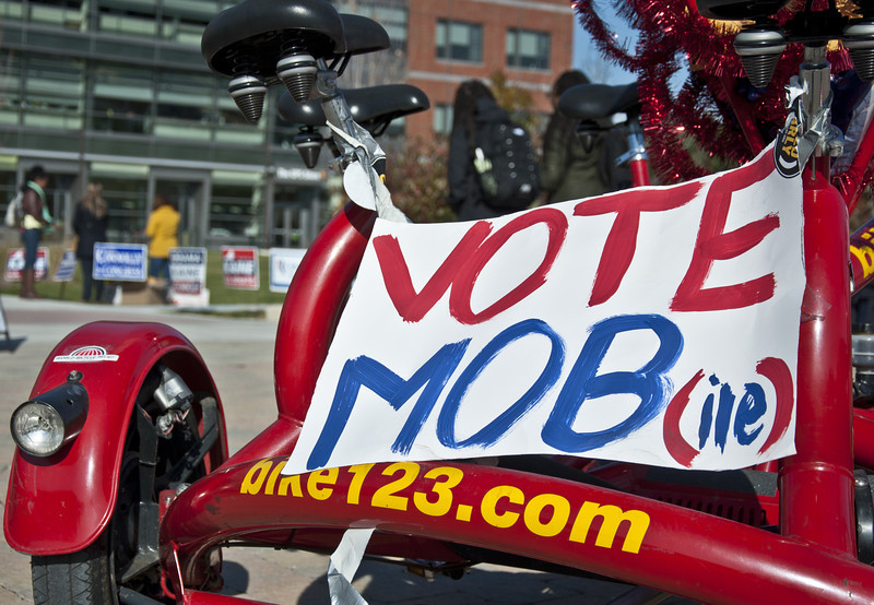 Student orginizations promote voting around Fairfax Campus on election day.