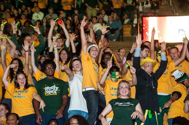 Students cheer at Mason Madness at the Patriot Center. Photo by Alexis Glenn/Creative Services/George Mason University
