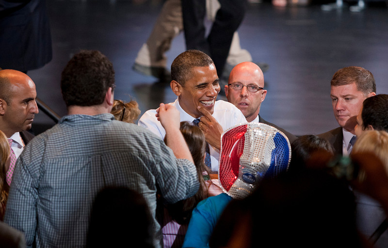 President Barack Obama greets supports during a campaign event at George Mason Univ., Friday, Oct. 5, 2012, in Fairfax, Va. (Craig Bisacre/Creative Services/George Mason University) George Mason University all rights reserved
