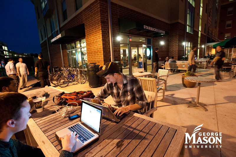 Starbucks. Students work at Starbucks at Fairfax Campus. Photo by Alexis Glenn/Creative Services/George Mason University