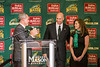 George Mason University President Ángel Cabrera introduces Brad Edwards as the new Mason Athletic Director, as his wife Marlana Edwards looks on, during a press conference at the Mason Inn. Photo by Craig Bisacre/Creative Services/George Mason University