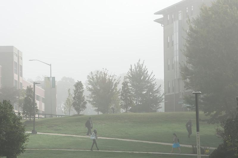 Fairfax campus in the fog