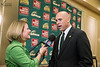 Brad Edwards speaks with CSN after being formally introduced as the new Mason Athletic Director during a press conference at the Mason Inn. Photo by Craig Bisacre/Creative Services/George Mason University