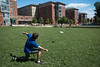Students play frisbee near the Rappahannock neighborhood at Fairfax campus. Photo by Alexis Glenn/Creative Services/George Mason University