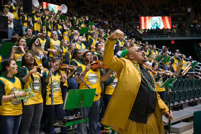 Doc Nix and the Green Machine perform at Mason Madness at the Patriot Center. Photo by Alexis Glenn/Creative Services/George Mason University