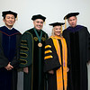Provost and Executive Vice President S. David Wu, President Ángel Cabrera, Bethany Hall-Long, Lieutenant Governor, Delaware, and Board of Visitors Rector Tom Davis at Winter Graduation 2017. Photo by Bethany Camp/Creative Services/George Mason University