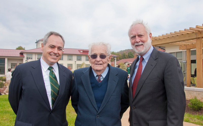 President Angel Cabrera, G.T. Halpin, and Wayne Clough at the Smithsonian-Mason School of Conservation Facility Dedication Ceremony at Front Royal, Virginia on October 18, 2012