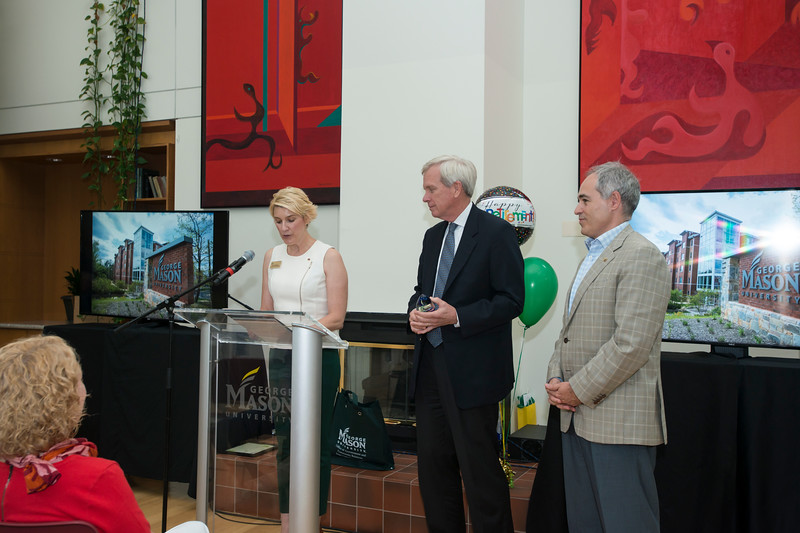 Tom Calhoun, Vice President of Facilities, receives the Jack Wood Award during his retirement party. Bethany Camp / Creative Services / George Mason University