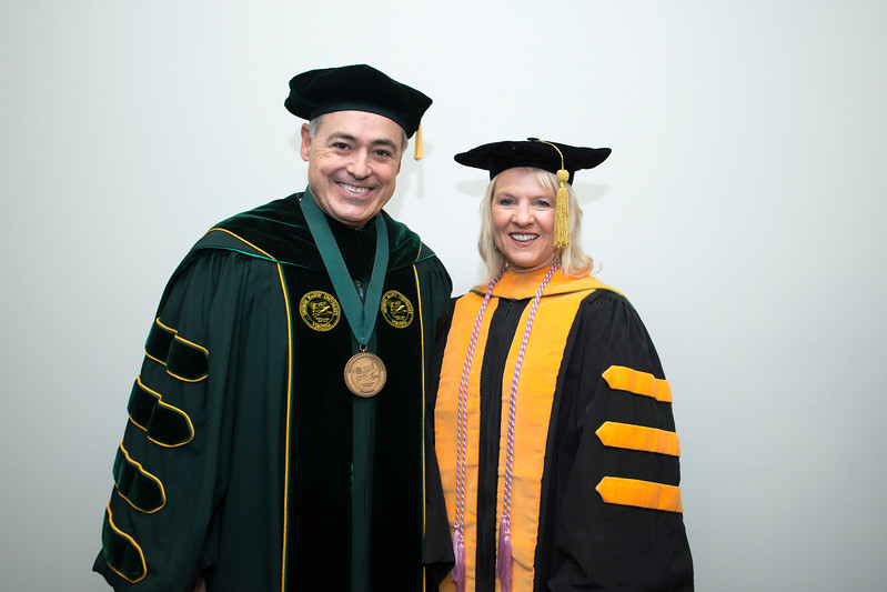 President Ángel Cabrera and Bethany Hall-Long, Lieutenant Governor, Delaware at Winter graduation 2017. Photo by Bethany Camp/Creative Services/George Mason University