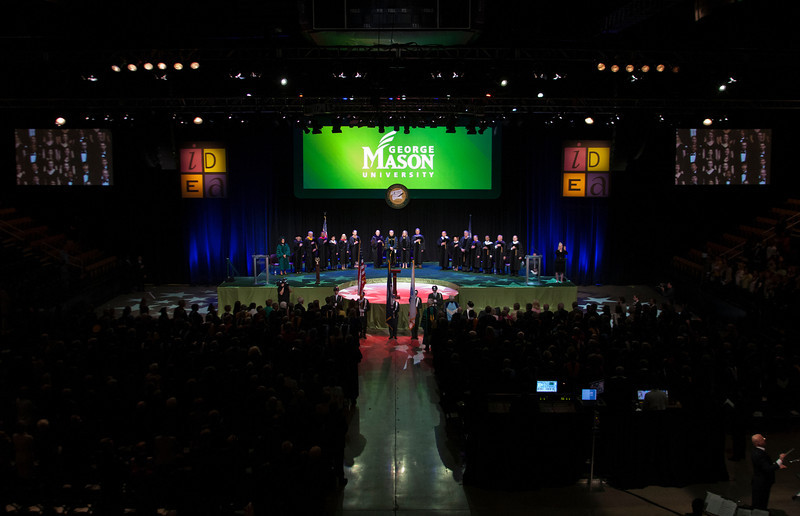 The Installation Ceremony of the Inauguration of Ángel Cabrera at the Patriot Center. Photo by Craig Bisacre/Creative Services/George Mason University