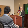President Ángel Cabrera introduces Senator Tim Kaine who speaks to George Mason University students and the community on the Fairfax Campus following a discussion on immigration and access. Photo by: Bethany Camp / Creative Services / George Mason University