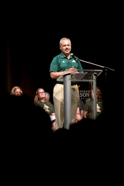President Ángel Cabrera speaks at New Student Convocation 2018. Photo by Bethany Camp/Creative Services/George Mason University