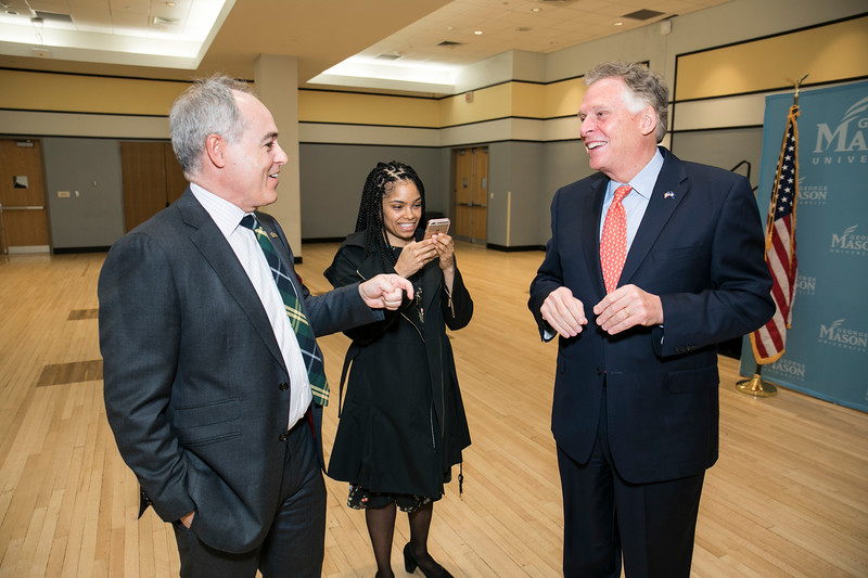 President Ángel Cabrera welcomes Former Virginia Gov. Terry McAuliffe, who joined Mason as a Distinguished Visiting Professor at the Schar School.  Photo by:  Ron Aira/Creative Services/George Mason University