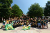 College Colors Day group photo with President Cabrera, The Patriot, Mason Cheerleaders, Masonettes, students, faculty and staff. Photo by Evan Cantwell/Creative Services/George Mason University