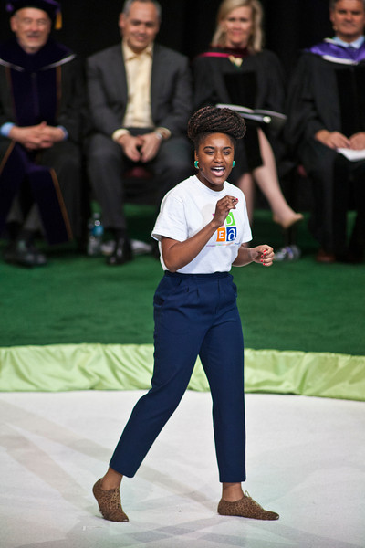 Mason student Sha-air Hawkins performs a spoken-word piece at the Installation Ceremony of the Inauguration of Ángel Cabrera at the Patriot Center. Photo by Craig Bisacre/Creative Services/George Mason University