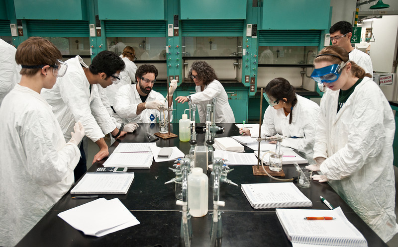 Professor Golala Arya, Chemistry Lab, undergraduate students