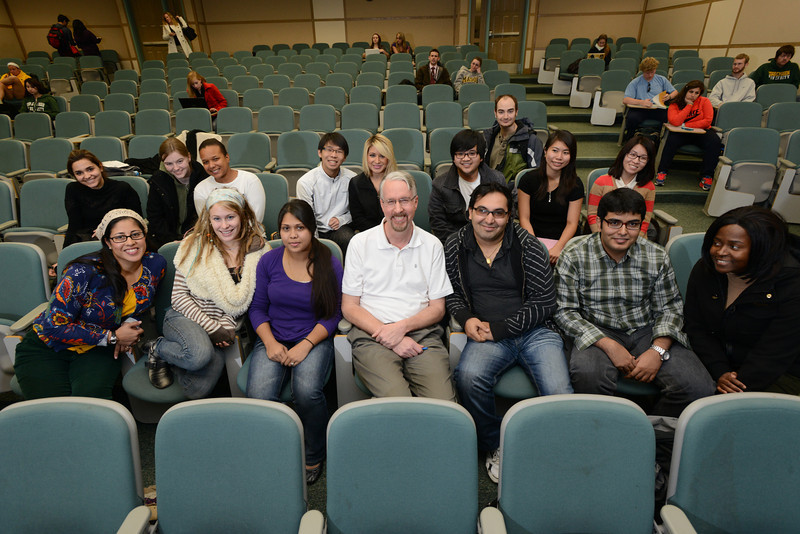 Students posing with Ed Otto, Assistant Professor, in Genetics class. Photo by Evan Cantwell/Creative Services/George Mason University