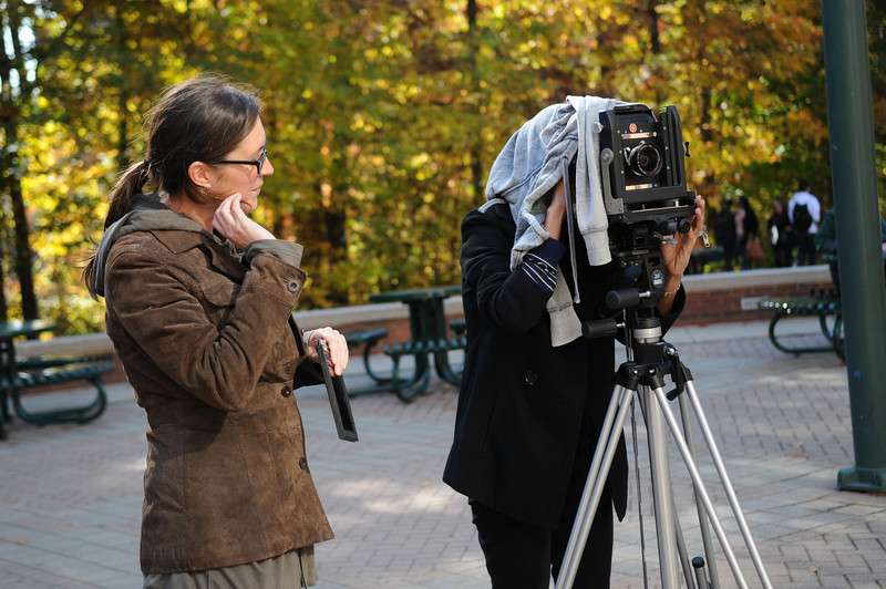 Photography students outside taking pictures