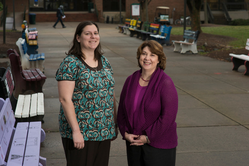 Ali Weinstein (L), Assistant Professor, Department of Rehabilitation Science, CHHS and Laura Poms, Professor, Global and Community Health, CHHS. Photo by Alexis Glenn/George Mason University