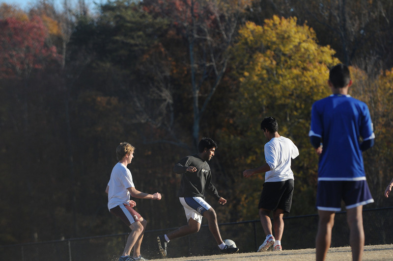 Students playing recreational soccer on the Fairfax Campus