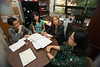 Undergraduate and China 1+2+1 students Xiaoxiao Zhang and Xiaohan Li (L) work with Madelyn Ross, Director of China Initiatives, and Program Coordinator Diane Wang (R) at Fairfax campus. Photo by Alexis Glenn/Creative Services/George Mason University