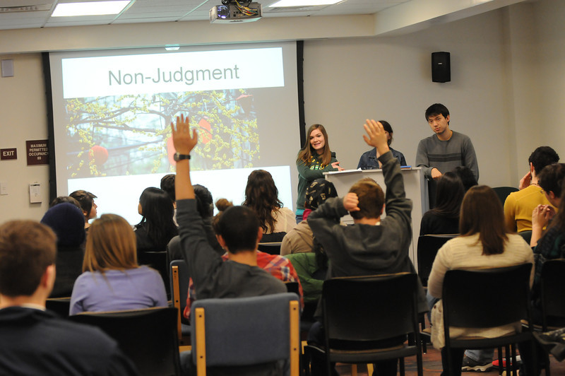 New Century College students attending a Mindful Living class.