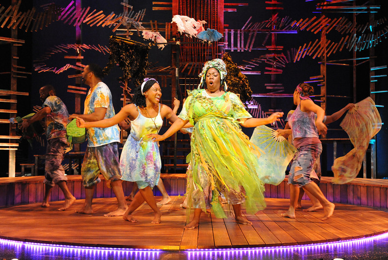 Olney Theatre Center presents the Caribbean-infused family musical, ONCE ON THIS ISLAND, now playing, featuring Aisha Jackson as Ti Moune and Theresa Cunningham as Asaka (Mother of the  Earth).<br /> <br /> Photo by Stan Barouh