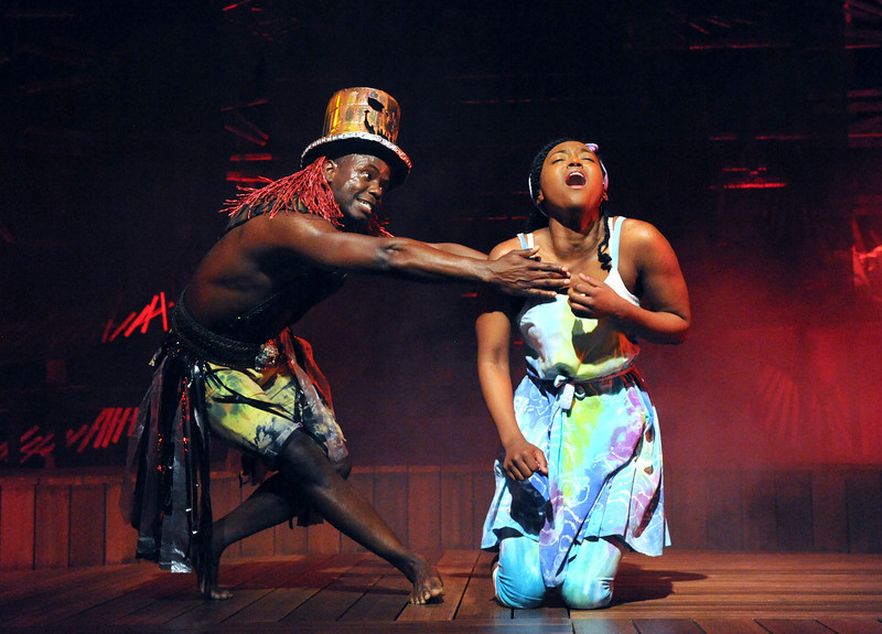 Olney Theatre Center presents the Caribbean-infused family musical, ONCE ON THIS ISLAND, now playing, featuring James T. Lane as Papa Ge (Demon of Death) and Aisha Jackson as Ti Moune.<br /> <br /> Photo by Stan Barouh