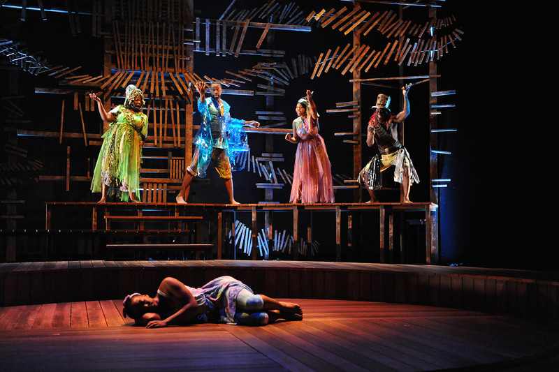 Olney Theatre Center presents the glorious, Caribbean-infused family musical of enormous heart, magical wisdom, and capricious gods, ONCE ON THIS ISLAND, featuring Aisha Jackson as Ti Moune, Theresa Cunningham as Asaka (Mother of the Earth), Nicholas Ward as Agwe (God of Water), Fahnlohnee Harris-Tate as Erzulie (Goddess of Love), and James T. Lane as Papa Ge (Demon of Death).<br /> <br /> Photo by Stan Barouh