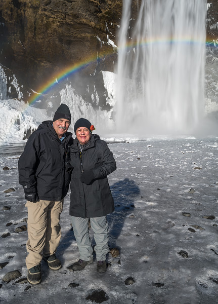 Richard and Mimi with Rainbow halo in Iceland