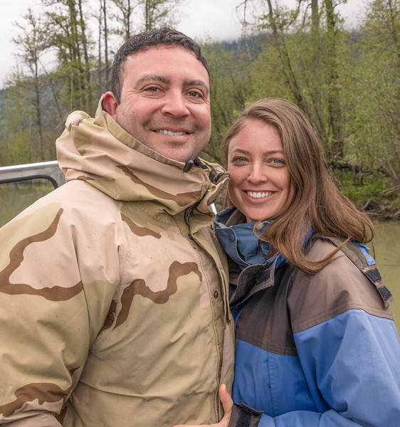 Christian and Carol on an Alaskan expedition up river