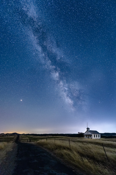 The Milky Way above an old school house in Northern California