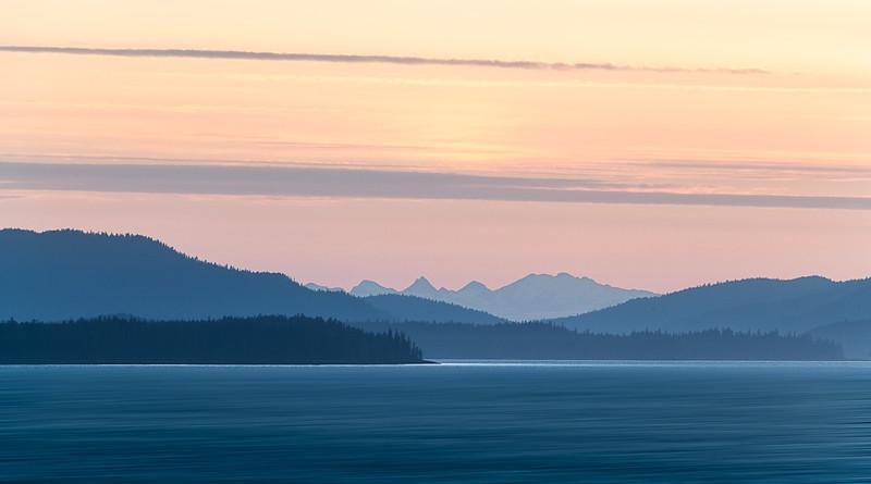 A moody sunset along the Alaska coast line