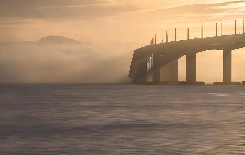 Sunrise and raking light on the San Francisco Bay Bridge