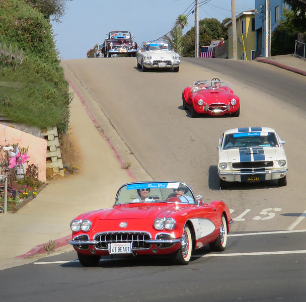 Richard driving his 1960 Corvette along Highway 1