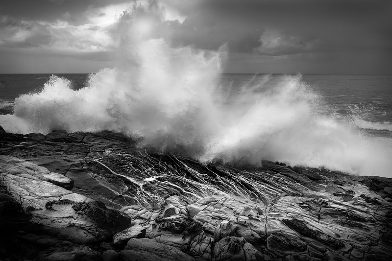 Crashing waves along the California coast line