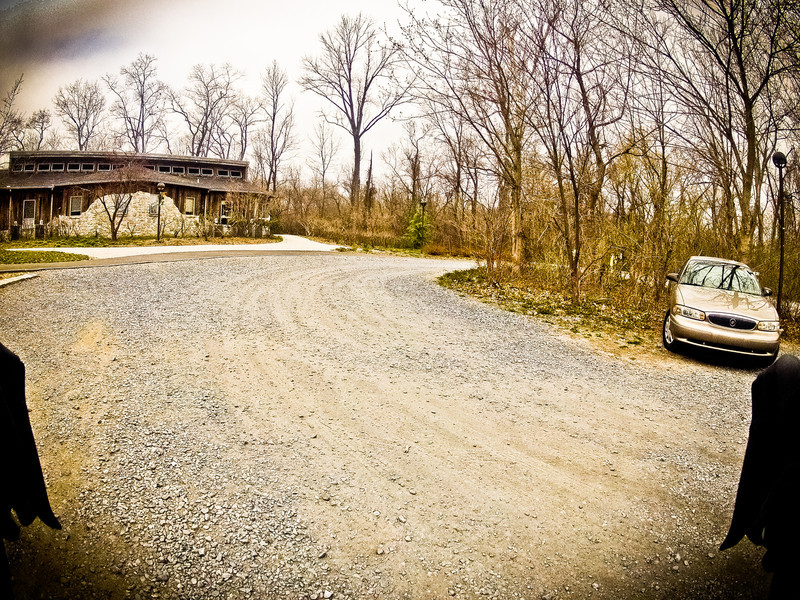 Parking lot and visitor center for Wildwood Park.