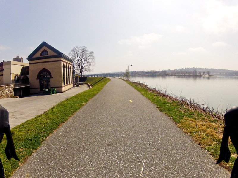 Riverfront Park.  Harvey Taylor Bridge in the distance.  Left is the old Harrisburg Waterworks.  Last used by Art League of Harrisburg.  Currently for sale and unoccupied.  Just beyond is a formal garden where a lot of weddings are photographed.