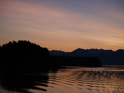Another sunrise shot across Wrangell Narrows just before docking (2009).