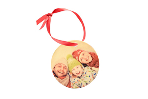 3 inch Round Wood Ornament