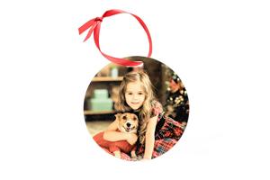4 inch Round Glitter Ornament