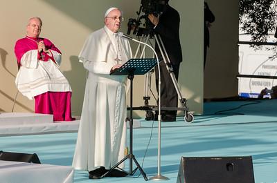 Cagliari, Italy. 22.09.2013. Pope Francis delivers his speech to sardinian workers. (IT) Papa Francesco durante il suo discorso ai lavoratori, prima tappa del suo viaggio pastorale in Sardegna.
