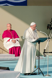 Cagliari, Italy. 22.09.2013. Pope Francis delivers his speech to sardinian workers. (IT) Papa Francesco durante il suo discorso ai lavoratori.