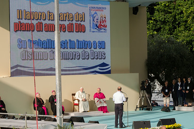 Cagliari, Italy. 22.09.2013. Papa Francesco hears the story of some workers at his first stop of his pastoral visit to Sardinia. (IT) Papa Francesco ascolta i rappresentanti del mondo del lavoro sardo, prima tappa della sua visita in Sardegna.