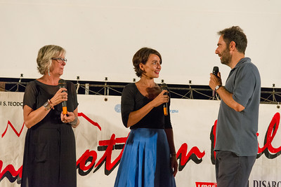 Actor neri Marcorè introduces one of the evening talking with special guest actress Ambra Angiolini (center) and Art director of the festival Journalist Piera Detassis.